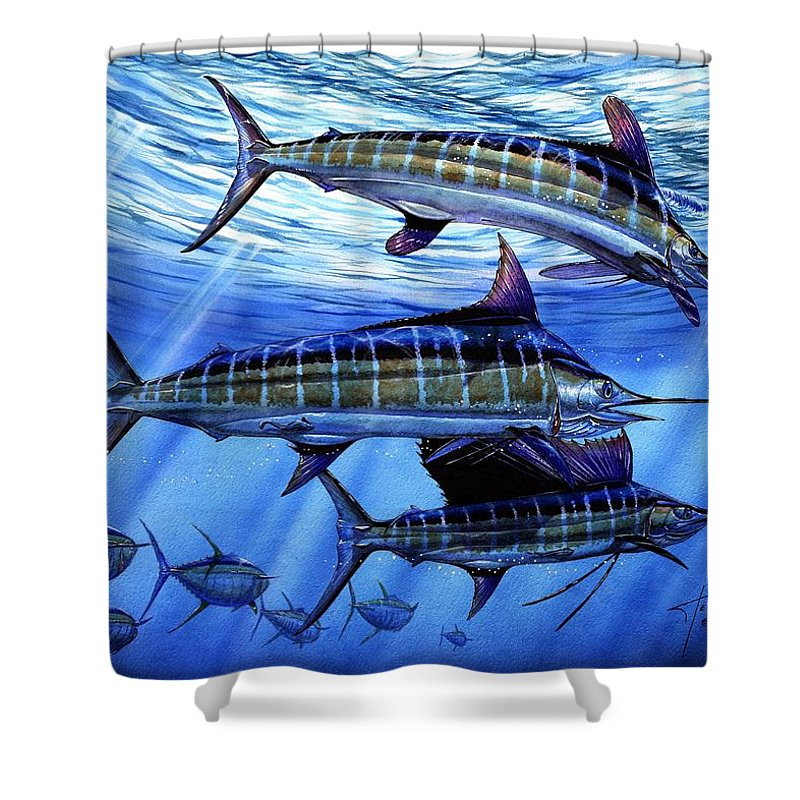 Blue Mrlin Shower Curtain featuring the painting Grand Slam Lure And Tuna by Terry Fox