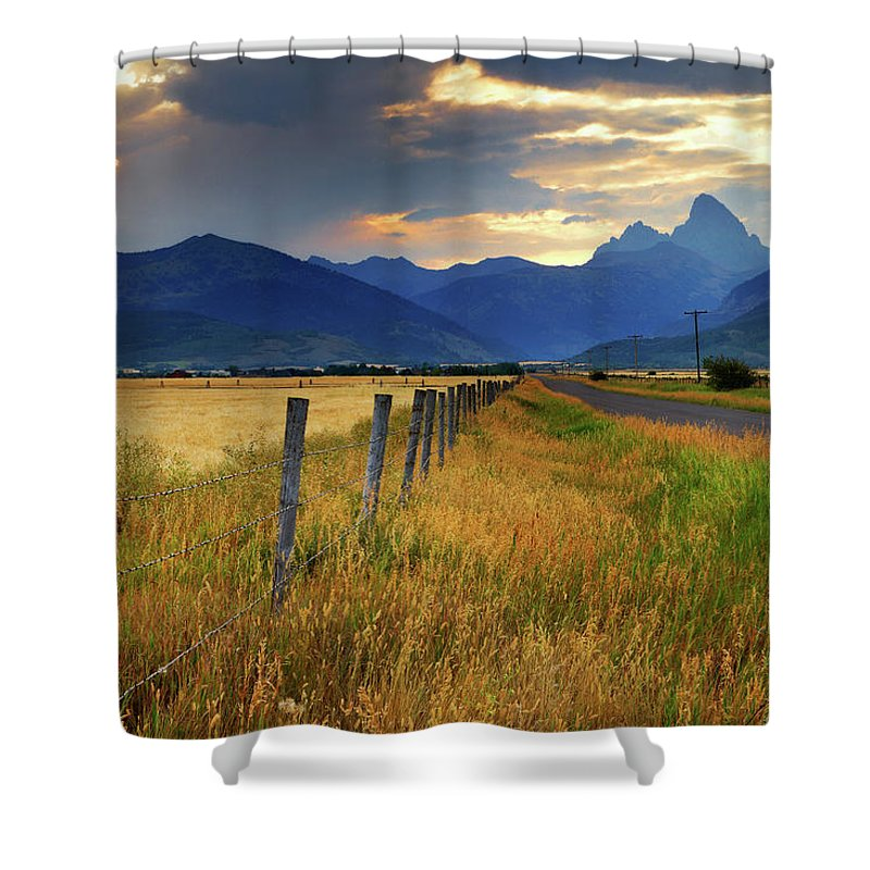 Tranquility Shower Curtain featuring the photograph Grand Tetons At Sunrise From Driggs by Anna Gorin
