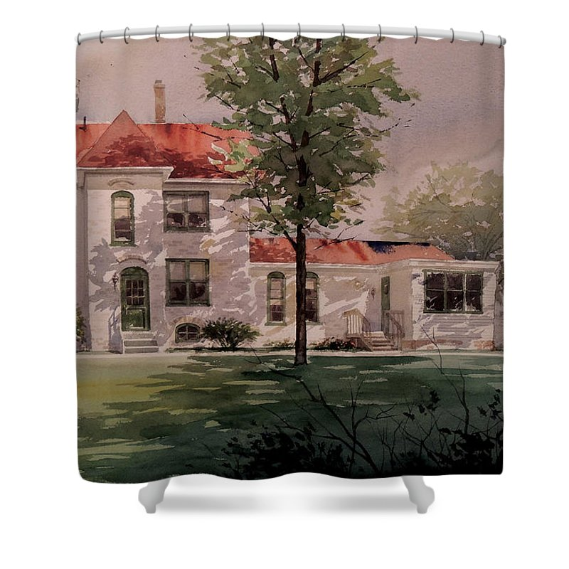 Landscapes Shower Curtain featuring the painting Grand Traverse Lighthouse by Jon Hunter