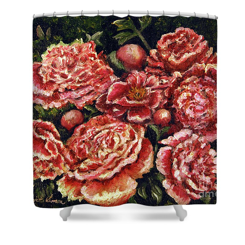 Pink Shower Curtain featuring the painting Grandma Lights Peonies by Linda Simon