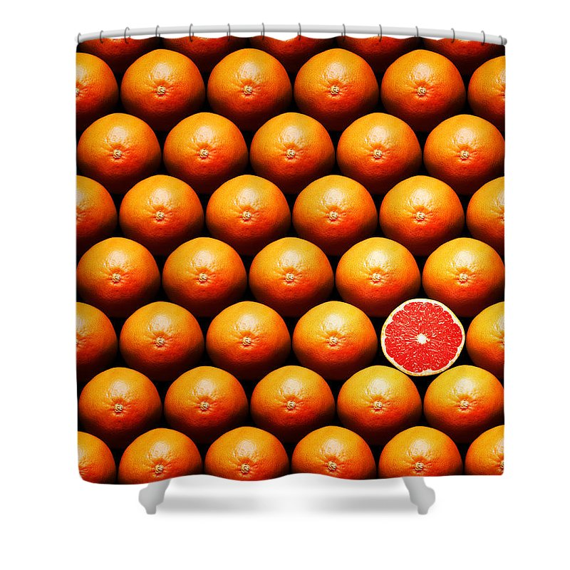 Grapefruit Shower Curtain featuring the photograph Grapefruit Slice Between Group by Johan Swanepoel