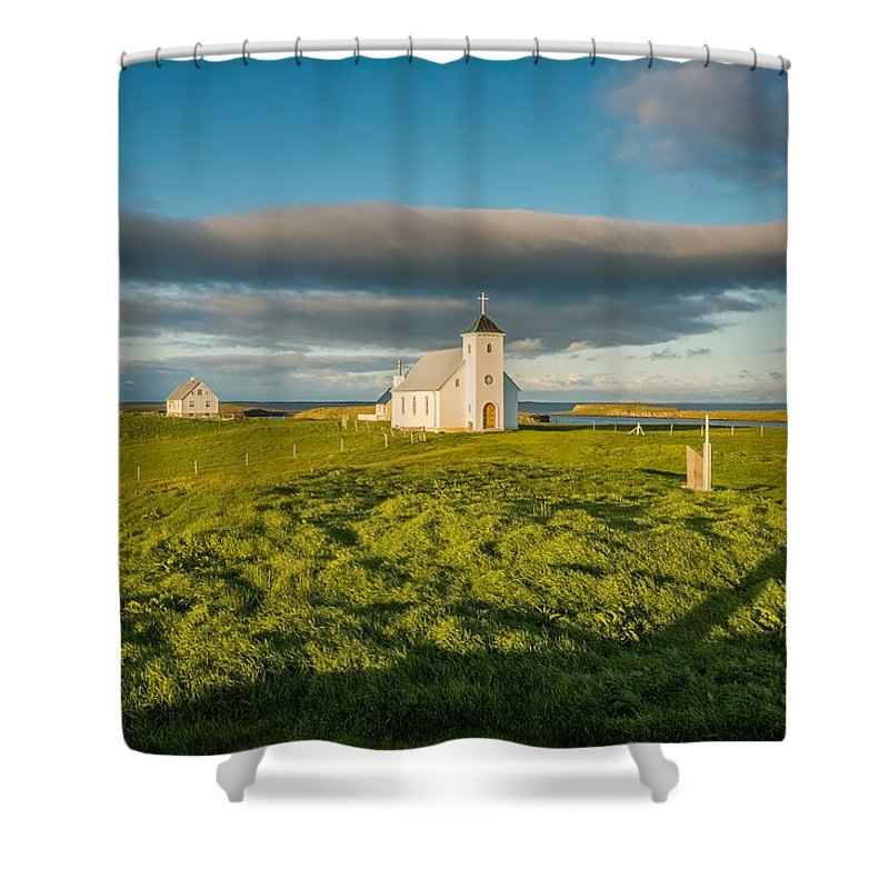 Photography Shower Curtain featuring the photograph Grasslands And Flatey Church, Flatey by Panoramic Images
