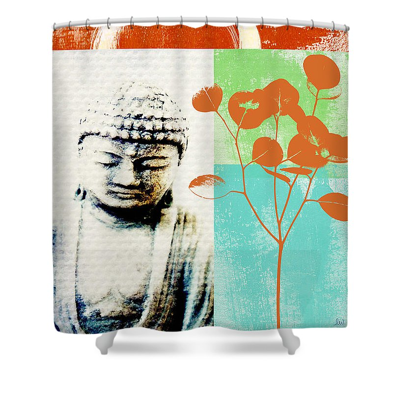 Gratitude Greeting Card Shower Curtain featuring the painting Gratitude Card- Zen Buddha by Linda Woods