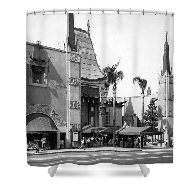 1940's Shower Curtain featuring the photograph Grauman's Chinese Theater by Underwood Archives