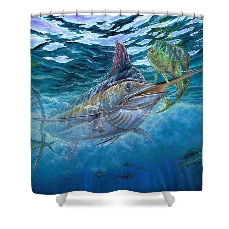 Blue Marlin Shower Curtain featuring the painting Great Blue And Mahi Mahi Underwater by Terry Fox