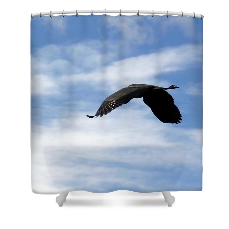 Great Blue Heron Shower Curtain featuring the photograph Great Blue Heron Flying Past The Clouds Above Trojan Pond 2 by Dawna Morton