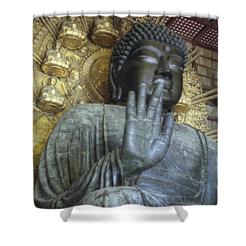 Buddha Shower Curtain featuring the photograph Great Buddha Of Nara Japan by Daniel Hagerman
