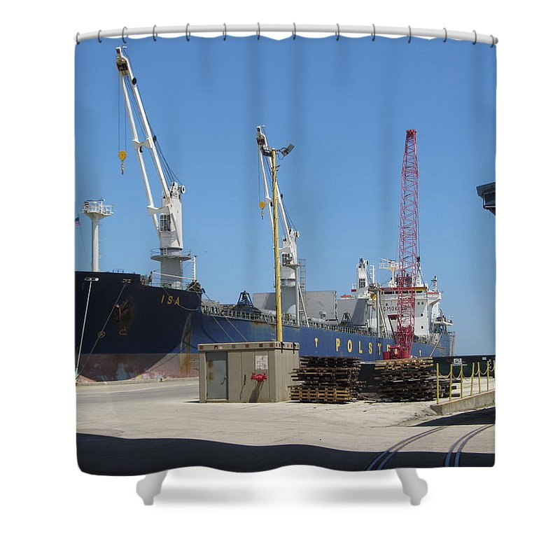 Great Lakes Shower Curtain featuring the photograph Great Lakes Ship Polsteam 3 by Anita Burgermeister