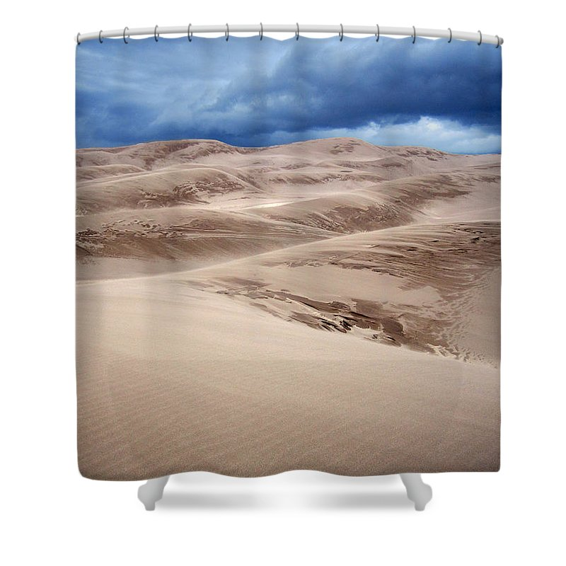 Brett Pfister Great Sand Dunes Storm Blue Brown Red National Park Popular Artist Fine Art Photography Epic Grand Scene Landscape Mountain Amazing Vintage Old Tall Massive Colorado Utah Arkansas Trees River Valley Sunset Sunrise Rock Location Bright Colorful Clouds Scenic Elevation High Rugged Realistic Canon Wide Shower Curtain featuring the photograph Great Sand Dunes National Park In Colorado by Brett Pfister