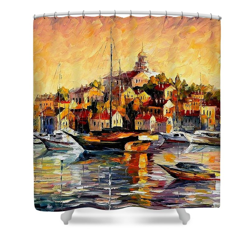 Oil Paintings Shower Curtain featuring the painting Greek Day - Palette Knife Oil Painting On Canvas By Leonid Afremov by Leonid Afremov