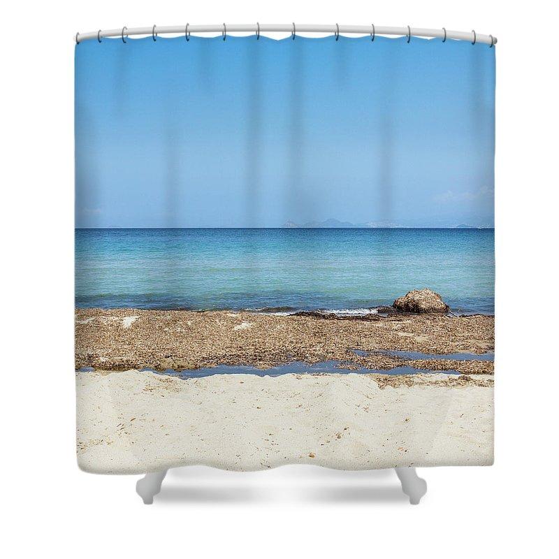 Greek Culture Shower Curtain featuring the photograph Greek Sea by Deimagine
