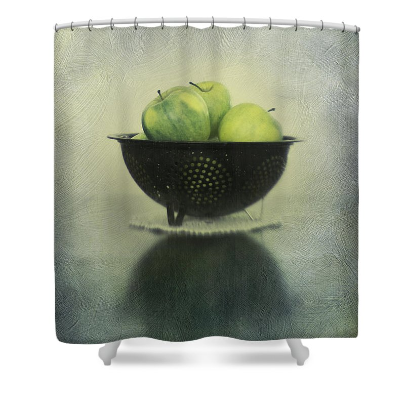 Colander Shower Curtain featuring the photograph Green Apples In An Old Enamel Colander by Priska Wettstein