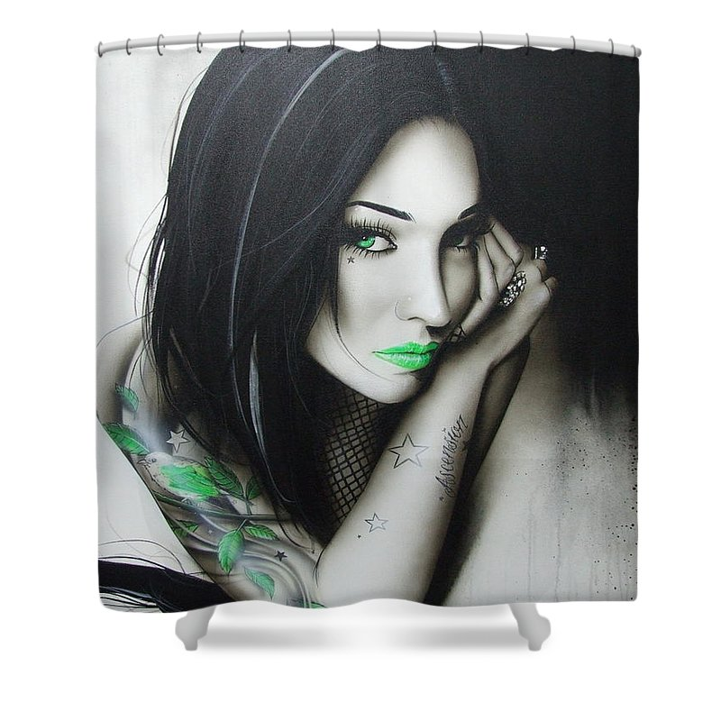 Portrait Shower Curtain featuring the painting Green Ascension by Christian Chapman Art