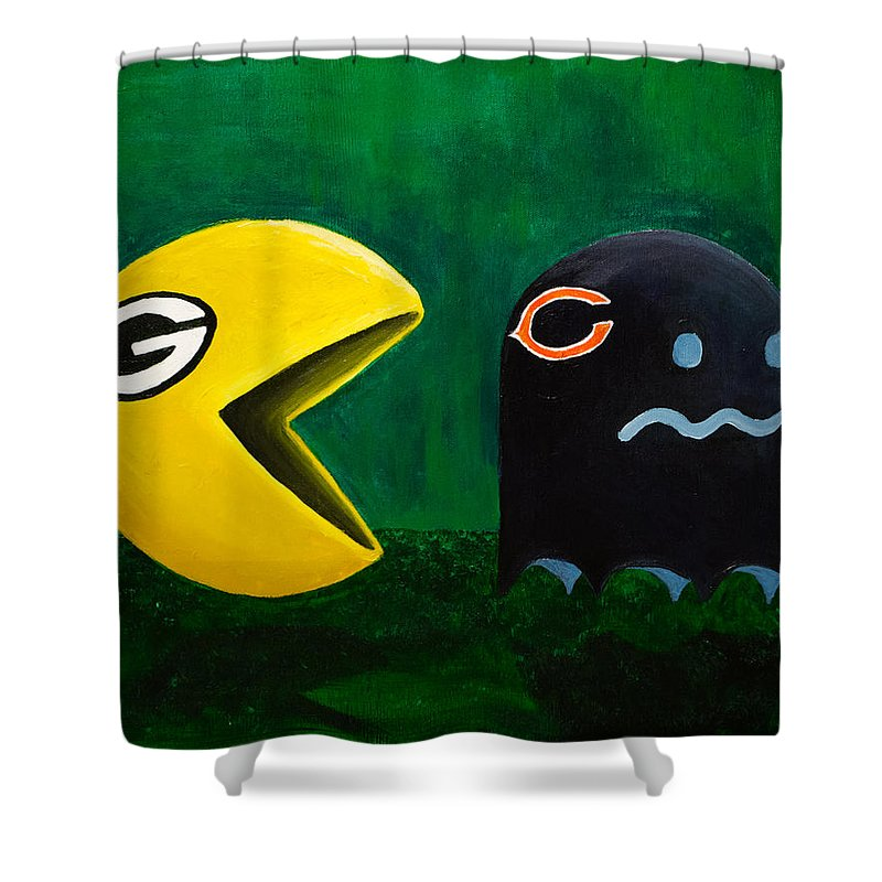 Green Bay Packers Shower Curtain Featuring The Painting Vs Chicago Bears By