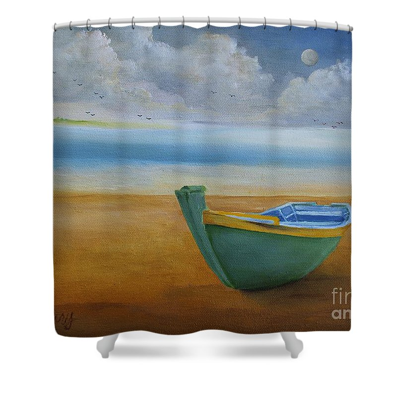 Impressionism Shower Curtain featuring the painting Green Boat by Alicia Maury