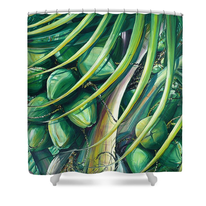 Coconut Painting Caribbean Painting Coconuts Caribbean Tropical Painting Palm Tree Painting  Green Botanical Painting Green Painting Shower Curtain featuring the painting Green Coconuts 2 by Karin Dawn Kelshall- Best