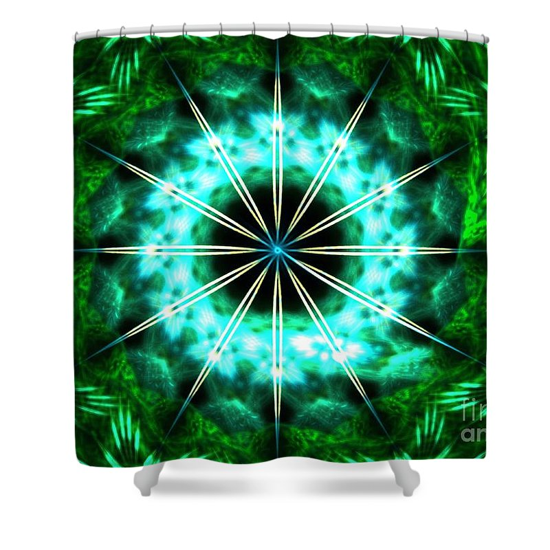 Apophysis Shower Curtain featuring the digital art Green Compass by Kim Sy Ok