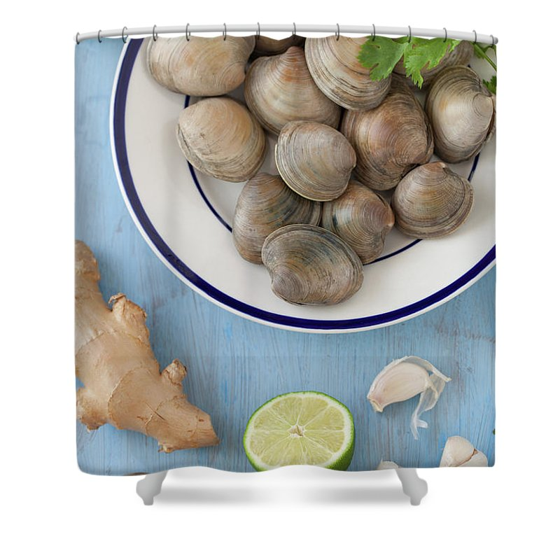 Newtown Shower Curtain featuring the photograph Green Curry, Coconut, Garlic & Ginger by Yelena Strokin
