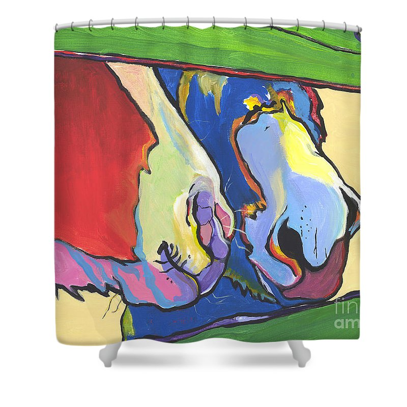 Pat Saunders-white Canvas Prints Shower Curtain featuring the painting Green Fence by Pat Saunders-White