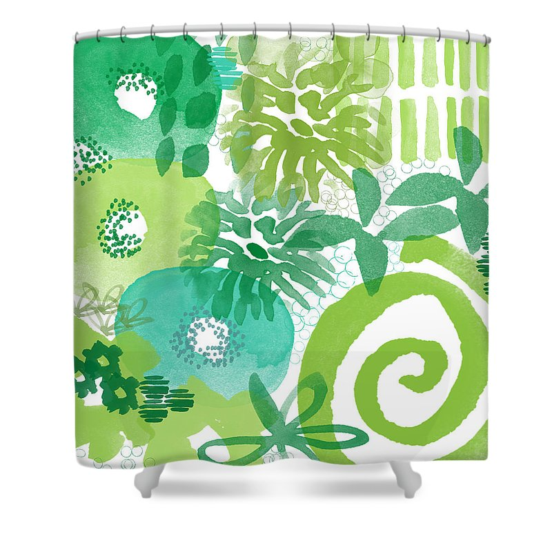 Floral Shower Curtain featuring the painting Green Garden- Abstract Watercolor Painting by Linda Woods