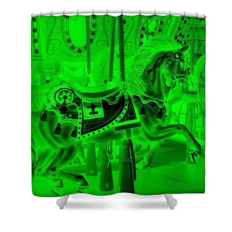 Carousel Shower Curtain featuring the photograph Green Horse by Rob Hans