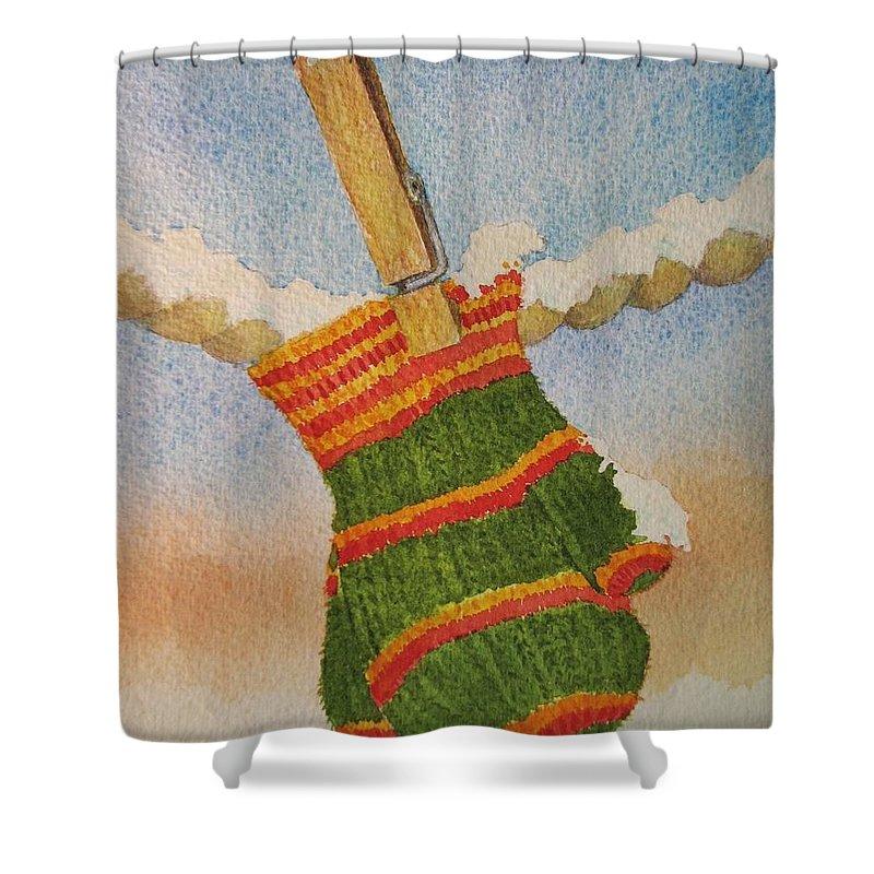 Children Shower Curtain featuring the painting Green Mittens by Mary Ellen Mueller Legault