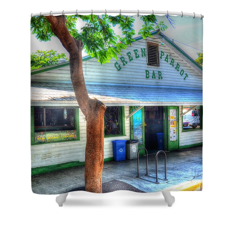Key West Shower Curtain featuring the photograph Green Parrot by Debbi Granruth