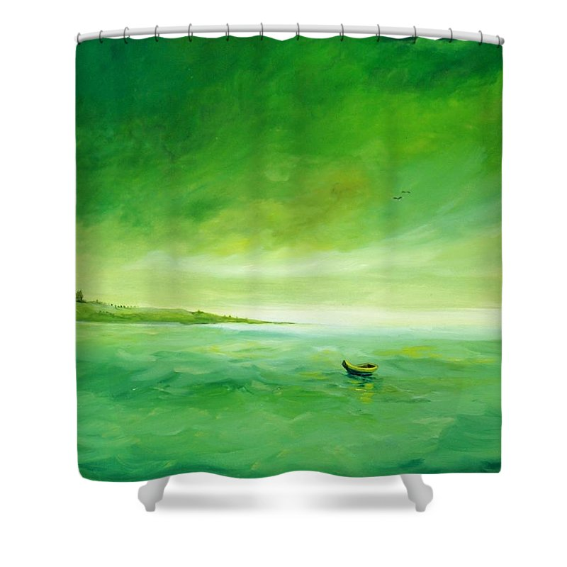 Alicia Maury Prints Shower Curtain featuring the painting Green Reflection by Alicia Maury