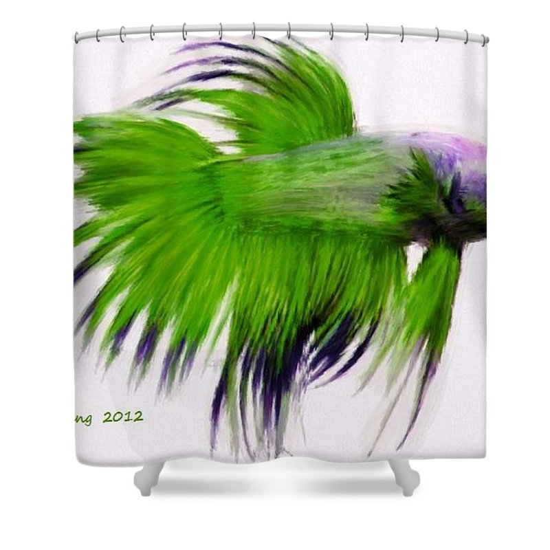 Green Shower Curtain featuring the painting Green Tropical Fish by Bruce Nutting