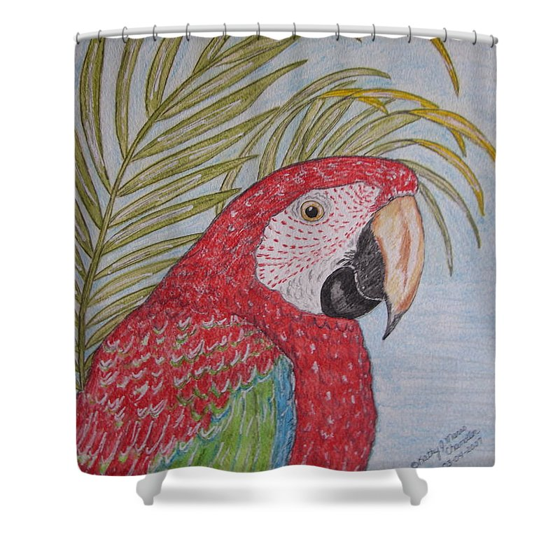 Green Wing Macaw Shower Curtain featuring the painting Green Winged Macaw by Kathy Marrs Chandler
