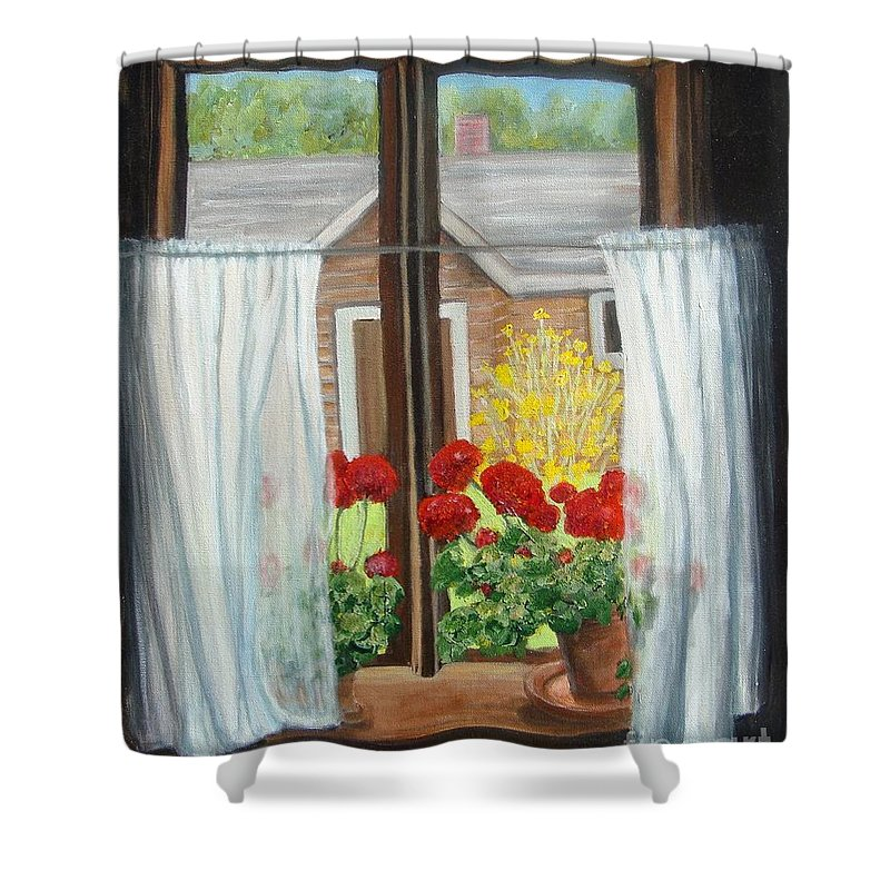 Windows Shower Curtain featuring the painting Greet The Day by Laurie Morgan