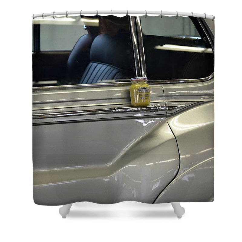 Rolls Royce Shower Curtain featuring the photograph Grey Poupon And Rolls Royce by Kathy Barney