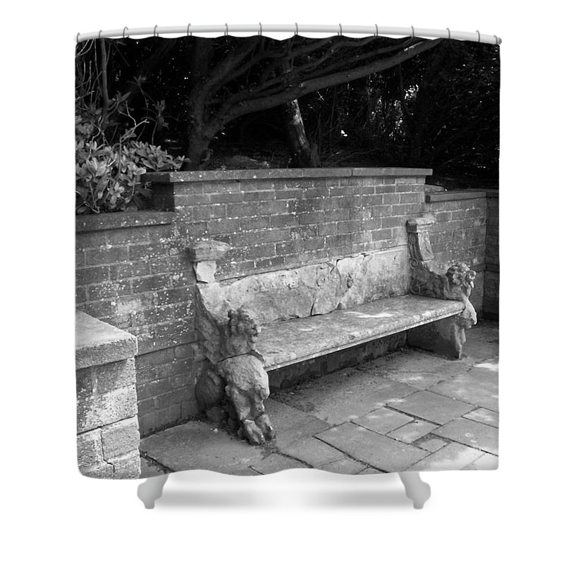 Griffin Shower Curtain featuring the photograph Griffin Bench by Katie Beougher