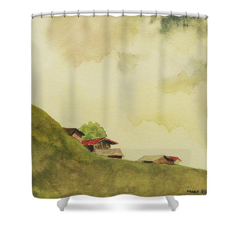 Swiss Shower Curtain featuring the painting Grindelwald Dobie Inspired by Mary Ellen Mueller Legault