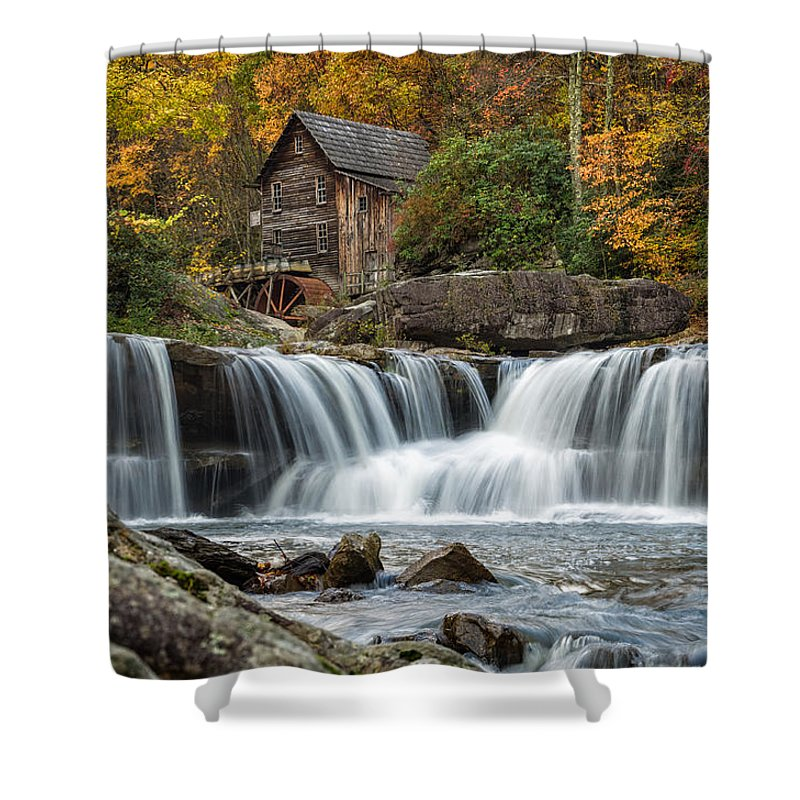 Babcock State Park Shower Curtain featuring the photograph Grist Mill With Vibrant Fall Colors by Lori Coleman