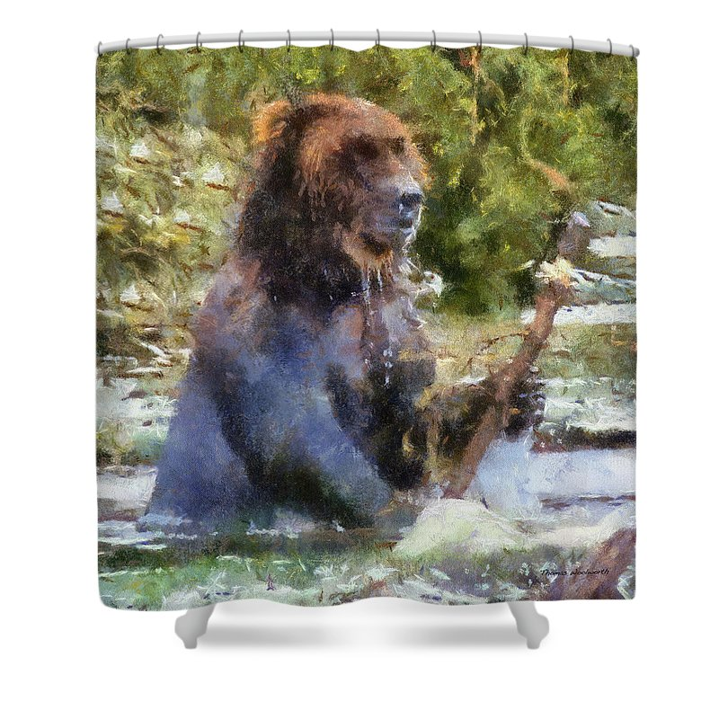 Grizzly Shower Curtain featuring the photograph Grizzly Bear Photo Art 02 by Thomas Woolworth