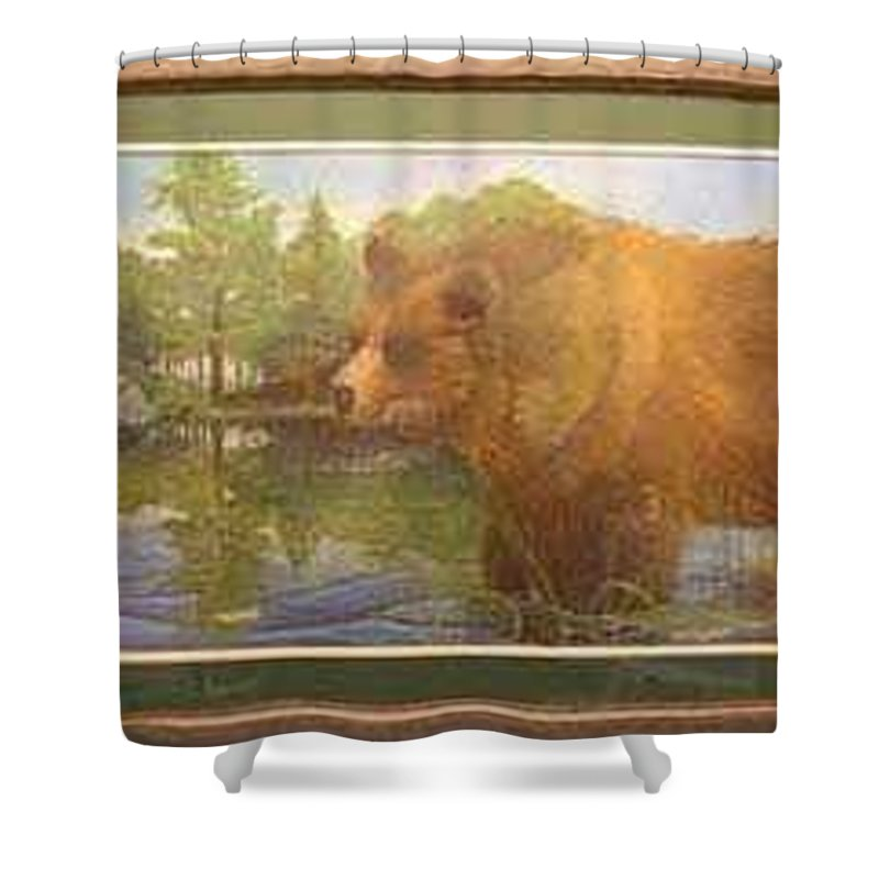 Rick Huotari Shower Curtain featuring the painting Grizzly by Rick Huotari