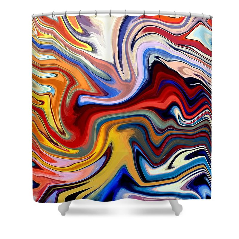 Abstract Shower Curtain featuring the digital art Groovalicious by Chris Butler