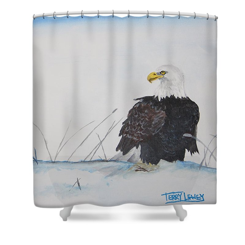 Eagle Shower Curtain featuring the painting Ground Eagle by Terry Lewey