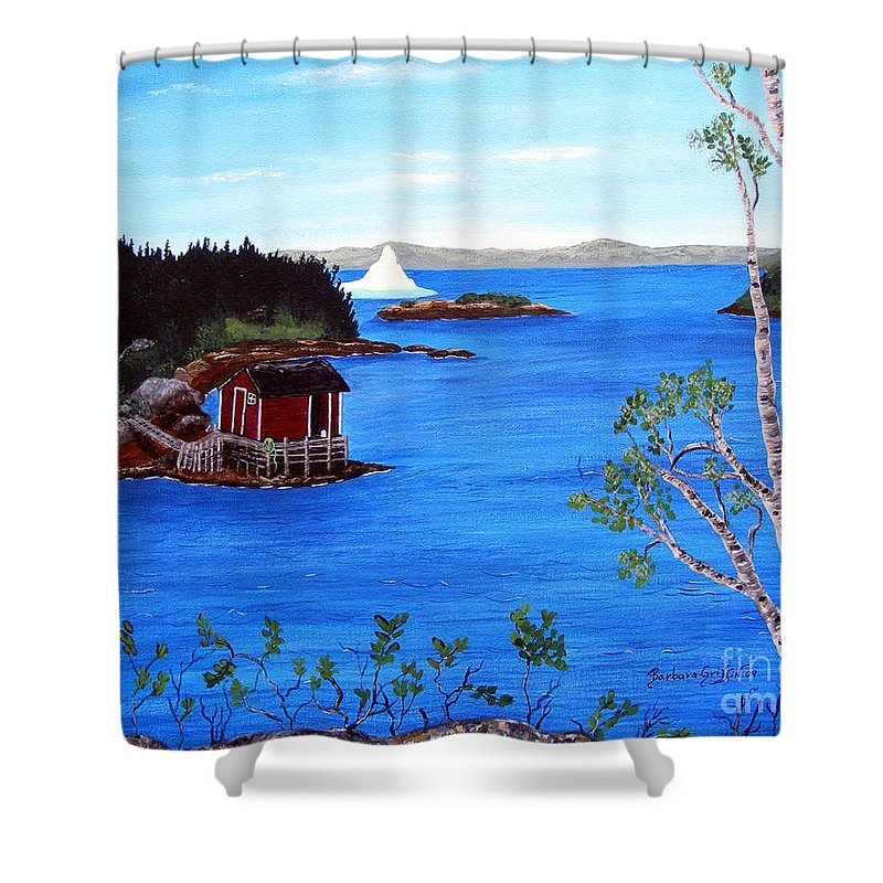 Grounded Iceberg Shower Curtain featuring the painting Grounded Iceberg by Barbara Griffin