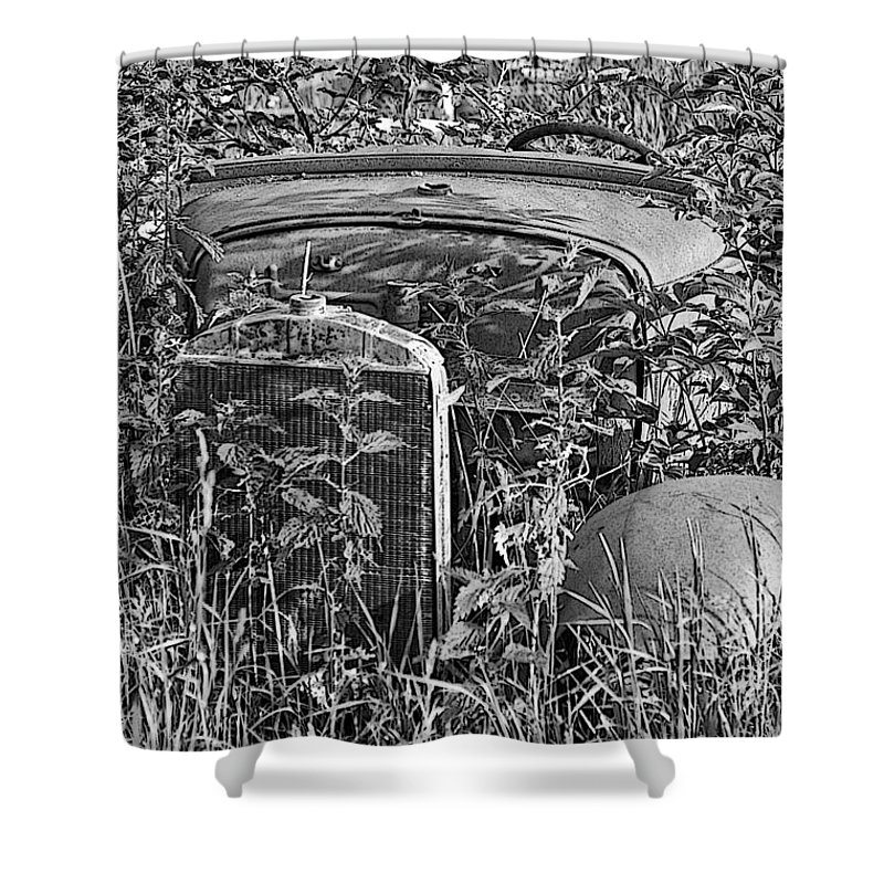Cars Shower Curtain featuring the photograph Growing Weeds by Randy Harris