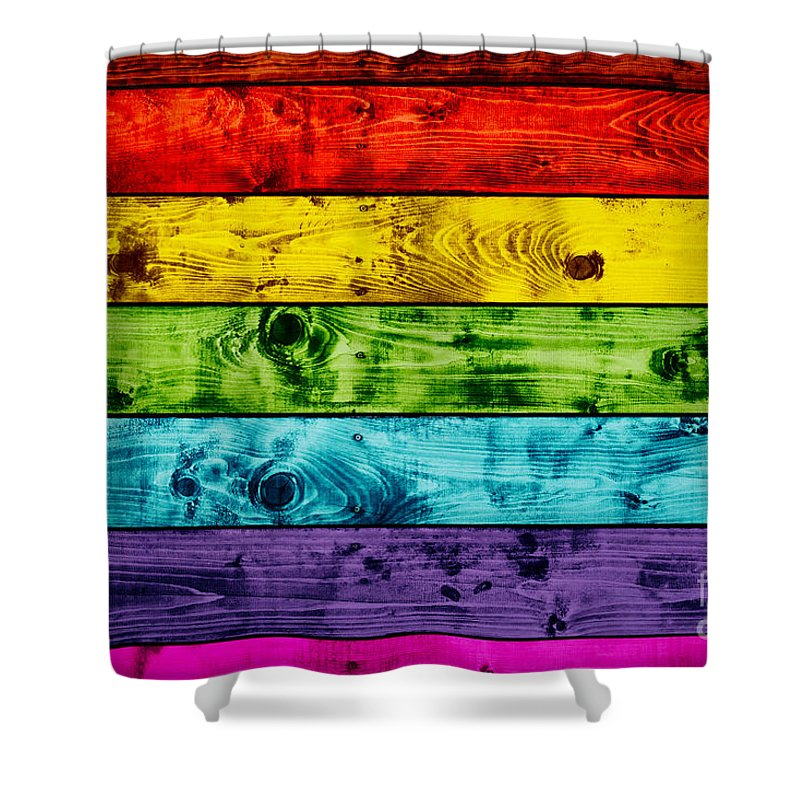 Wood Shower Curtain featuring the photograph Grunge Colorful Wood Planks Background by Michal Bednarek