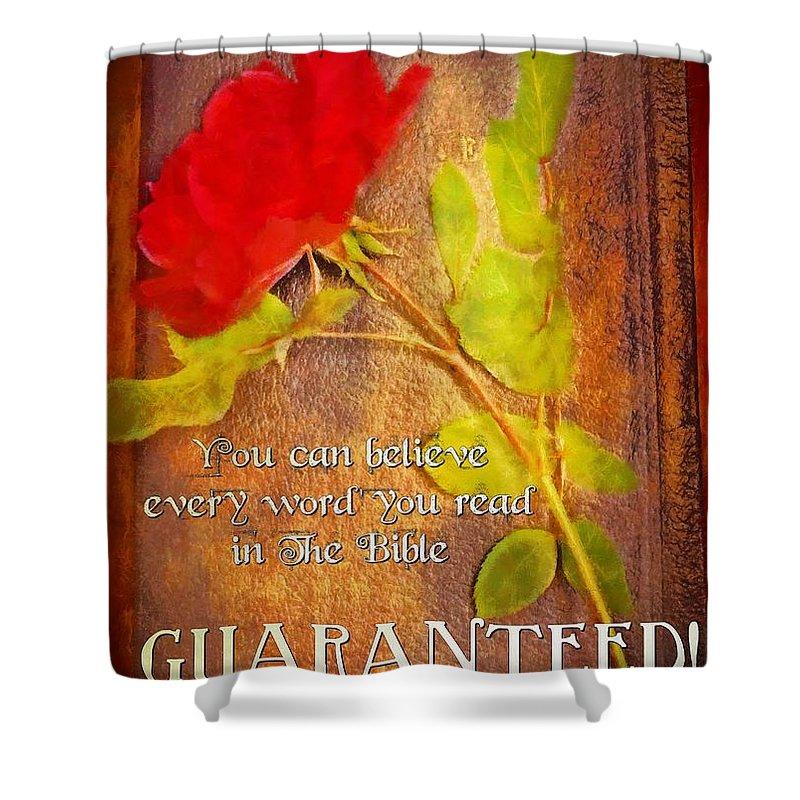 Jesus Shower Curtain featuring the digital art Guaranteed by Michelle Greene Wheeler
