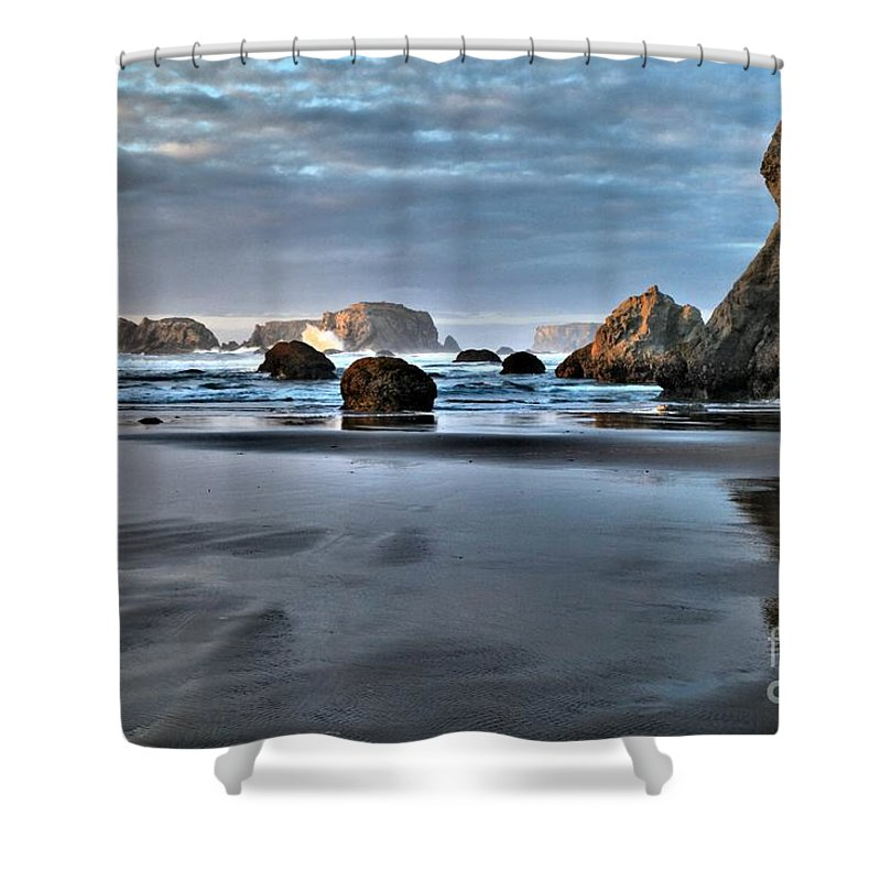 Guardian Rock Shower Curtain featuring the photograph Guardian Rock by Adam Jewell