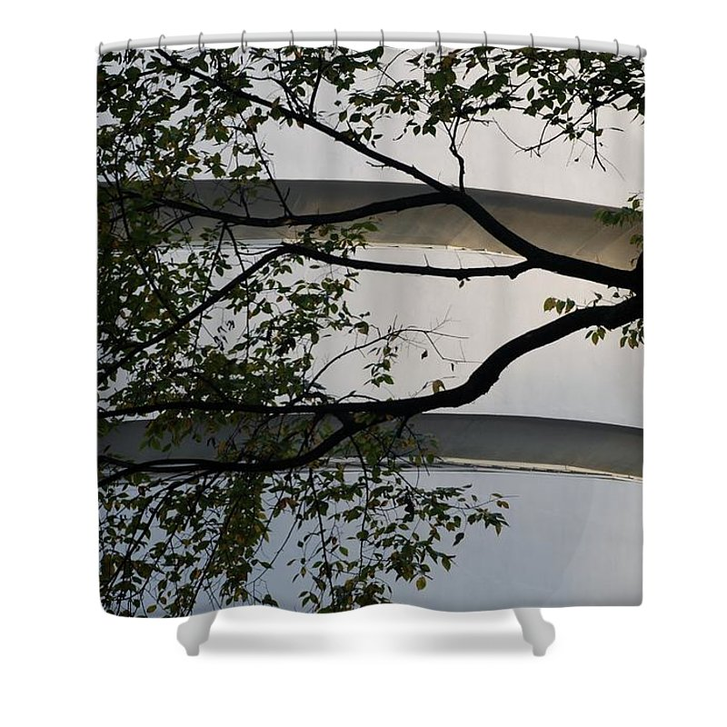 Scenic Shower Curtain featuring the photograph Guggenheim And Trees by Rob Hans