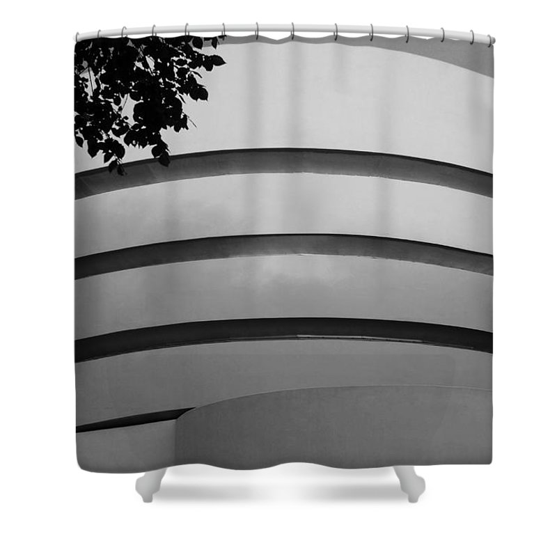 Scenic Shower Curtain featuring the photograph Guggenheim In The Round In Black And White by Rob Hans