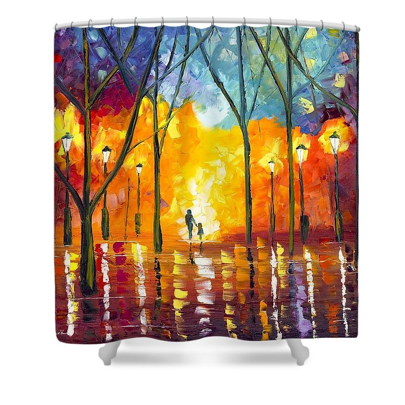 Dreams Shower Curtain featuring the painting Guiding Light by Jessilyn Park