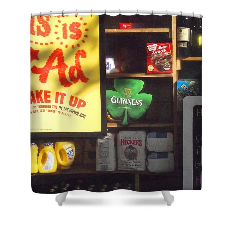 New York Shower Curtain featuring the photograph Guiness In The Window by Miriam Danar