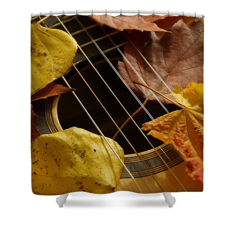 Guitar Shower Curtain Featuring The Photograph Autumn 3 By Mick Anderson