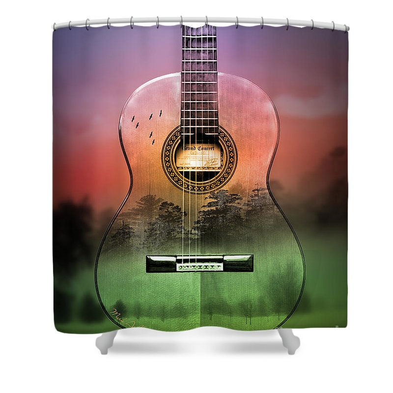 Cool Shower Curtain featuring the painting Guitar Nature by Mark Ashkenazi